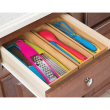 Load image into Gallery viewer, Online shopping mdesign bamboo kitchen cabinet drawer organizer stackable tray bin eco friendly multipurpose use in drawers on countertops shelves or in pantry 15 long 6 pack natural wood finish