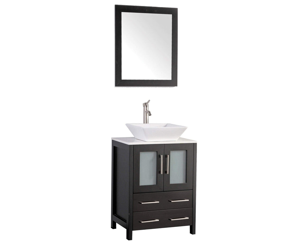 Try vanity art 24 inch modern bathroom vanity set cabinet single sink combo with ceramic top free mirror 2 door 2 drawer storage espresso va3124e