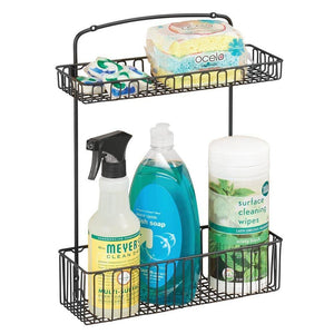Home mdesign metal farmhouse wall mount kitchen storage organizer holder or basket hang on wall under sink or cabinet door in kitchen pantry holds dish soap window cleaner sponges matte black