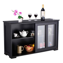 Load image into Gallery viewer, Top rated waterjoy kitchen storage sideboard stackable buffet storage cabinet with sliding door tempered glass panels for home kitchen antique black
