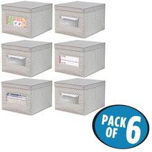 Load image into Gallery viewer, Buy now mdesign decorative soft stackable fabric office storage organizer holder bin box container clear window lid for cabinets drawers desks workspace large foldable chevron print 6 pack taupe