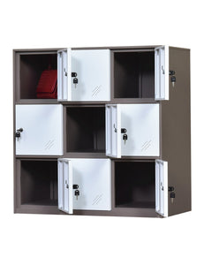 Organize with 9 door metal locker office cabinet locker living room and school locker organizer home locker organizer storage for kids bedroom and office storage cabinet with doors and lock for cloth white