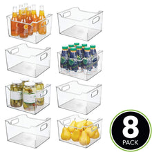 Load image into Gallery viewer, On amazon mdesign plastic kitchen pantry cabinet refrigerator or freezer food storage bin box deep container with handles organizer for fruit vegetables yogurt snacks pasta 10 long 8 pack clear