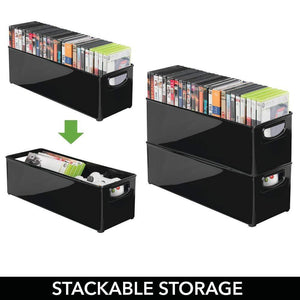 Best seller  mdesign plastic stackable household storage organizer container bin with handles for media consoles closets cabinets holds dvds video games gaming accessories head sets 8 pack black