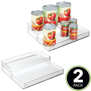 Get mdesign plastic kitchen canned food storage organizer shelves holder for cabinet countertop pantry holds beans sauces tomato paste vegetables soups 2 levels 12 w 2 pack clear