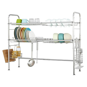 Amazon nex 2 tier stainless steel drying dish rack non slip length adjustable kitchen cabinets with chopstick holder double groove