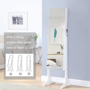 Buy now gissar jewelry organizer full length mirror jewelry cabinet standing wall mounted jewelry armoire storage with lights lockable white