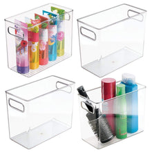 Load image into Gallery viewer, Budget friendly mdesign slim plastic storage container bin with handles bathroom cabinet organizer for toiletries makeup shampoo conditioner face scrubbers loofahs bath salts 5 wide 4 pack clear