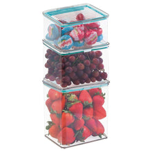 Load image into Gallery viewer, Amazon mdesign airtight stackable kitchen pantry cabinet or refrigerator food storage containers attached hinged lids compact bins for pantry refrigerator freezer bpa free food safe set of 3 clear