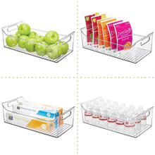 Load image into Gallery viewer, Buy now mdesign wide plastic kitchen pantry cabinet refrigerator or freezer food storage bin with handles organizer for fruit yogurt snacks pasta bpa free 16 long 4 pack clear