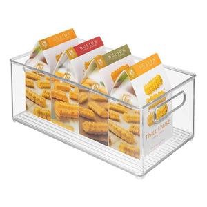 Top rated mdesign deep plastic kitchen storage organizer container bin with handles for pantry cabinets shelves refrigerator freezer bpa free 14 5 long 4 pack clear
