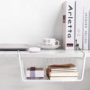Exclusive homeideas 4 pack under shelf basket white wire rack slides under shelves storage basket for kitchen pantry cabinet