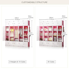 Load image into Gallery viewer, Results yozo modular closet cloth storage organizer portable kids wardrobe chest of drawer ube shelving unit multifunction toy cabinet bookshelf diy furniture pink 25 cubes