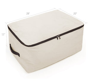 Select nice premium canvas big size soft storage bag for bedroom closet winter garment sweaters down jacket coat uniforms suit etc cabinet organizer bag for seasonal clothes storage beige