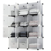 Load image into Gallery viewer, Home kousi portable storage cube cube organizer cube storage shelves cube shelf room organizer clothes storage cubby shelving bookshelf toy organizer cabinet transparent white 12 cubes