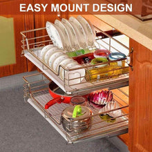 Load image into Gallery viewer, Results pull out wire sliding basket rack cabinet storage organizer drawer shelf under sink storage and rack for pots and pans easy mount design made of chromed stainless steel non toxic 350mm