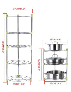 Purchase uheng 5 tier adjustable kitchen cabinet pantry pan and pot lid organizer rack holder houseware cookware holders storage stainless steel dia 13 7 x h 38 5