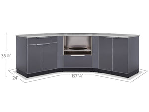 Outdoor Kitchen Aluminum 5 Piece Cabinet Set