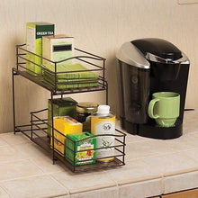 Load image into Gallery viewer, Buy now seville classics 2 tier sliding basket drawer kitchen counter and cabinet organizer bronze