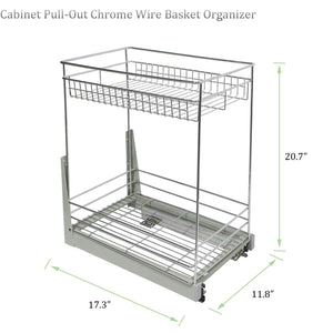 Get 17 3x11 8x20 7 cabinet pull out chrome wire basket organizer 2 tier cabinet spice rack shelves bowl pan pots holder full pullout set