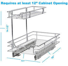 Load image into Gallery viewer, Buy slide out cabinet organizer 11w x 18d x 14 1 2h requires at least 12 cabinet opening kitchen cabinet pull out two tier roll out sliding shelves storage organizer for extra storage