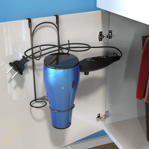 Discover the lavish home hair dryer holder over the cabinet door hanging caddy bathroom styling rack holster for curling iron blow dryer and flat iron