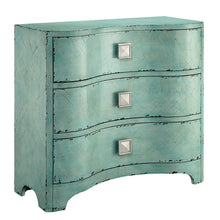 Load image into Gallery viewer, Storage madison park fulton accent chest wood living room 3 drawer storage unit cracked antique blue teal antique rustic style floor cabinet