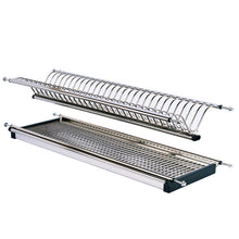 Load image into Gallery viewer, Amazon modern 2 tier stainless steel folding dish drying dryer rack 900mm36 drainer plate bowl storage organizer holder for cabinet width 860mm34 875mm34 5