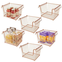 Load image into Gallery viewer, Products mdesign modern stackable metal storage organizer bin basket with handles open front for kitchen cabinets pantry closets bedrooms bathrooms large 6 pack copper