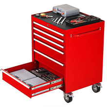 Load image into Gallery viewer, Buy now goplus 30 x 24 5 tool box cart portable 6 drawer rolling storage cabinet multi purpose tool chest steel garage toolbox organizer with wheels and keyed locking system classic red