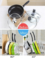 Load image into Gallery viewer, New fecihor stainless steel pan and pot lid cookware rack holder adjustable bakeware cookware kitchen cabinet pantry drying rack and countertop cookware organizer holders silver