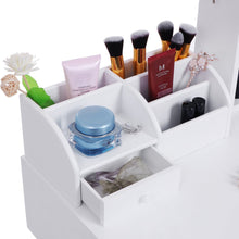 Load image into Gallery viewer, The best bewishome vanity set with mirror jewelry cabinet jewelry armoire makeup organizer cushioned stool 2 sliding drawers white makeup vanity desk dressing table fst04w