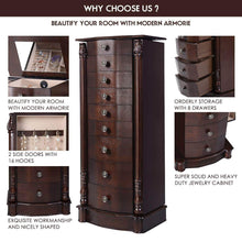 Load image into Gallery viewer, Save giantex large jewelry armoire cabinet with 8 drawers 2 swing doors 16 hooks top mirror boxes standing cambered front storage chest stand large standing jewelry armoire dark walnut