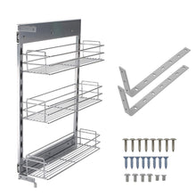 Load image into Gallery viewer, Latest 10x18 5x25 9 inch cabinet pull out chrome wire basket organizer 3 tier cabinet spice rack shelves full pullout set