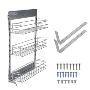 Latest 10x18 5x25 9 inch cabinet pull out chrome wire basket organizer 3 tier cabinet spice rack shelves full pullout set