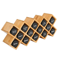 Load image into Gallery viewer, Top rated criss cross 18 jar bamboo countertop spice rack organizer kitchen cabinet cupboard wall mount door spice storage fit for round and square spice bottles free standing for counter cabinet or drawers