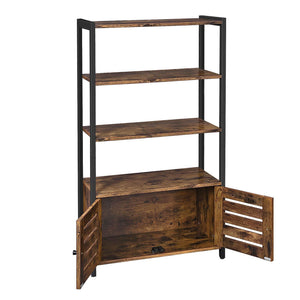 Cheap vasagle industrial storage cabinet bookshelf bookcse bathroom floor cabinet with 3 shelves and 2 shutter doors in living room study bedroom multifunctional rustic brown ulsc75bx