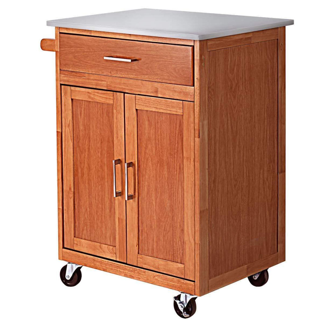 Amazon giantex wood kitchen trolley cart rolling kitchen island cart with stainless steel top storage cabinet drawer and towel rack