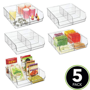 Storage mdesign plastic wide food storage organizer bin caddy for kitchen pantry cabinet countertop holds baking supplies spices pouches dressing mixes tea sugar packets 6 sections 5 pack clear