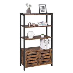 Discover vasagle industrial storage cabinet bookshelf bookcse bathroom floor cabinet with 3 shelves and 2 shutter doors in living room study bedroom multifunctional rustic brown ulsc75bx