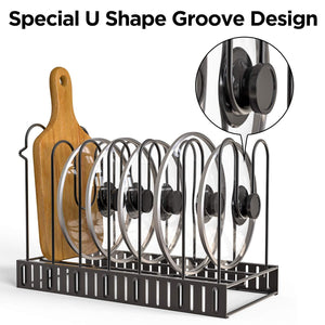 Budget geekdigg pot rack organizer 3 diy methods height and position are adjustable 8 pots holder black metal kitchen cabinet pantry pot lid holder upgraded