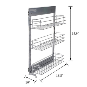 Kitchen 10x18 5x25 9 inch cabinet pull out chrome wire basket organizer 3 tier cabinet spice rack shelves full pullout set