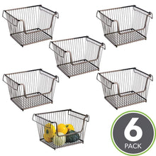 Load image into Gallery viewer, Order now mdesign modern stackable metal storage organizer bin basket with handles open front for kitchen cabinets pantry closets bedrooms bathrooms large 6 pack bronze
