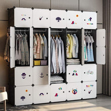 Load image into Gallery viewer, Featured yozo closet organizer portable wardrobe cloth storage bedroom armoire cube shelving unit dresser cabinet diy furniture black 25 cubes