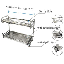 Load image into Gallery viewer, Products 2 tier kitchen cabinet dish rack 19 3 wall mounted stainless steel dish rack steel dishes drying rack plates organizer rubber leg protector with drain board