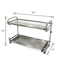 Load image into Gallery viewer, Organize with 2 tier kitchen cabinet dish rack 19 3 wall mounted stainless steel dish rack steel dishes drying rack plates organizer rubber leg protector with drain board