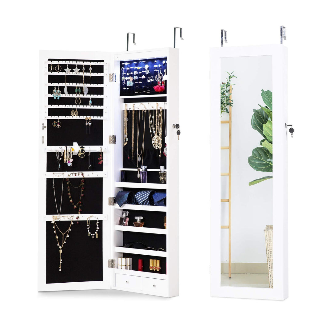 Get cloud mountain jewelry cabinet 6 leds jewelry armoire lockable wall door mounted jewelry cabinet organizer with mirror 2 drawers bedroom living room cloakroom closet white