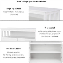Load image into Gallery viewer, Shop homfa kitchen sideboard storage cabinet large dining buffet server cupboard cabinet console table with display shelf and double doors white