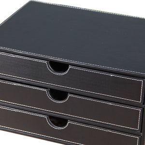 Select nice unionbasic multi functional pu leather wooden desk organizer file cabinet office supplies desktop storage organizer box with drawer plain black 3 drawer