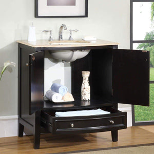 Discover the best silkroad exclusive hyp 0709 t uic 32 travertine stone top single sink bathroom vanity with furniture cabinet 32 dark wood